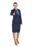 Happy business woman stretching hand for handshake Stock Images