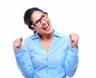 Happy business woman. Success. Happy business woman. Isolated on white background Royalty Free Stock Photo