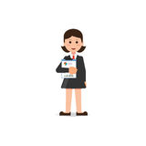 Happy business woman in suit standing with statistics file in ha Royalty Free Stock Photography