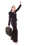 Happy business woman with the suitcase Royalty Free Stock Photos