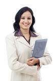 Happy business woman with tablet computer Stock Photos