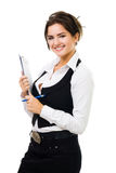 Happy business woman with tablet and pen smiling Royalty Free Stock Photo
