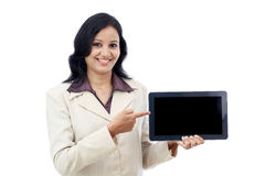 Happy business woman with tablet Stock Photos