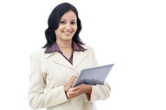 Happy business woman with tablet Stock Photography
