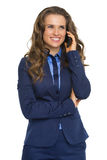 Happy business woman talking cell phone Stock Photography