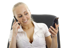 Happy business woman talking by phone. Stock Photo