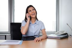 Happy Business woman Talking On Phone Stock Photo