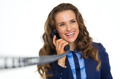 Happy business woman talking on phone Royalty Free Stock Images
