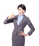Happy business woman with thumbs up Royalty Free Stock Images
