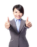 Happy business woman with thumbs up Royalty Free Stock Photos