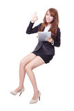 Happy business woman with touch pad Royalty Free Stock Photography