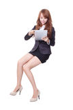 Happy business woman with touch pad Royalty Free Stock Image