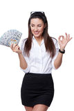 Happy business woman with us dollar Stock Photos