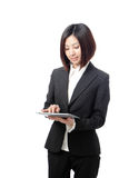 Happy business woman usiing tablet pc Stock Photos