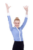 Happy business woman whit her hands in the air Royalty Free Stock Photo