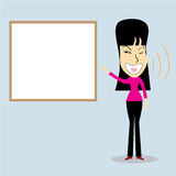 Happy business woman and white boards concept .Vector illustration Stock Photos