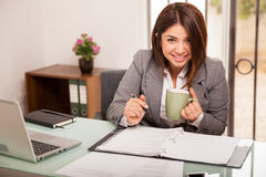 Happy business woman at work Stock Images