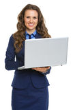 Happy business woman working on laptop Royalty Free Stock Images