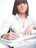 Happy Business Woman Writing Stock Photos
