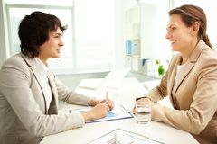 Happy business women stock images
