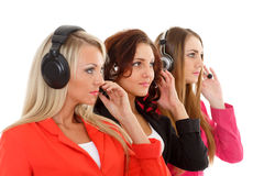Happy business women with headset. Stock Image