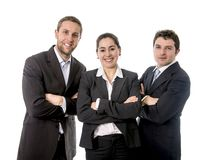 Happy business workers with their arms crossed Stock Photos