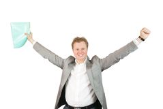 Happy businessman. With documents. Isolated on white Stock Photo