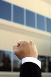 Happy businessman. Fist of a businessman, showing happiness and excitement Royalty Free Stock Photos