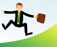 Happy businessman. Jumping and smiles Royalty Free Stock Photo