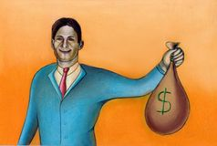 Happy businessman. Businessman holding a sack full of money. Hand drawn illustration Royalty Free Stock Photo