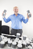 Happy businessman addicted to coffee Stock Photography