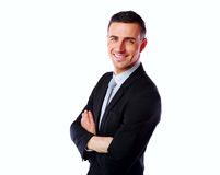 Happy businessman with arms folded Royalty Free Stock Photography