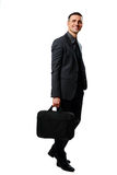 Happy businessman with bag Royalty Free Stock Images