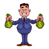 Happy businessman with bags of money Stock Photography