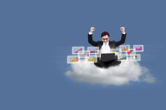 Happy businessman with bar chart on cloud Royalty Free Stock Photos