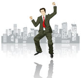 Happy businessman in the big city. Vector happy businessman in the big city Stock Photography