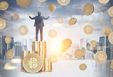 Happy businessman bitcoin rain cityscape Stock Photo
