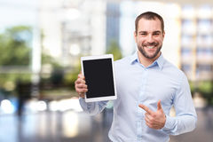 Happy businessman in blue shirt Royalty Free Stock Photography