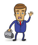 Happy businessman with briefcase Stock Image