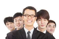 Happy businessman with business team Stock Photos