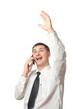 Happy businessman calling by phone Royalty Free Stock Photography