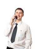 Happy businessman calling by phone Stock Photos
