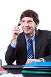 Happy businessman calling and working Royalty Free Stock Photo