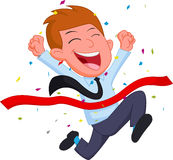 Happy Businessman cartoon running at the finish line. Illustration of Happy Businessman cartoon running at the finish line Stock Image