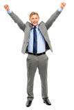 Happy businessman celebrating success isolated on white backgrou Royalty Free Stock Photos