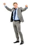 Happy businessman celebrating success isolated on white backgrou Royalty Free Stock Photo