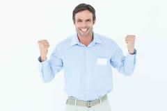 Happy businessman celebrating victory Stock Images