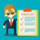 Happy businessman with checklist. All items are Royalty Free Stock Image