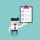 Happy businessman with checklist Successful business concept. Vector illustration Royalty Free Stock Photos