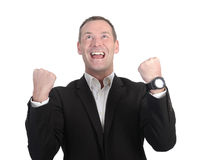 Happy businessman cheering Stock Image